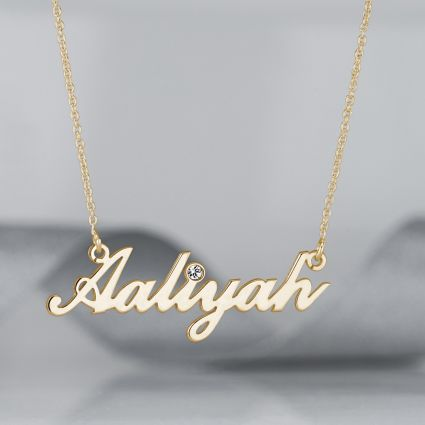 9ct Yellow Gold Plated Carrie Style Personalised Name Necklace With Diamond