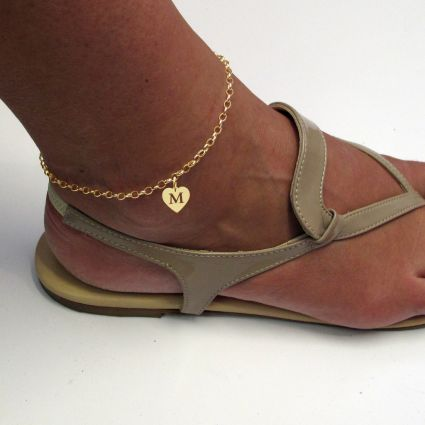 9ct Yellow Gold Plated Belcher Anklet With Initial Heart CharmOn Foot