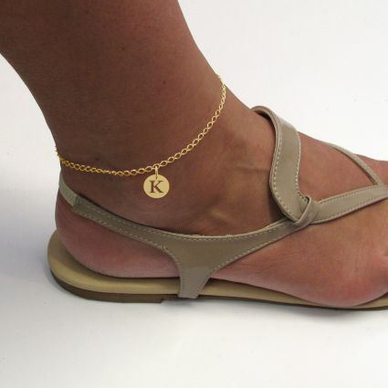 9ct Yellow Gold Plated Curb Anklet With Initial Disc Charm