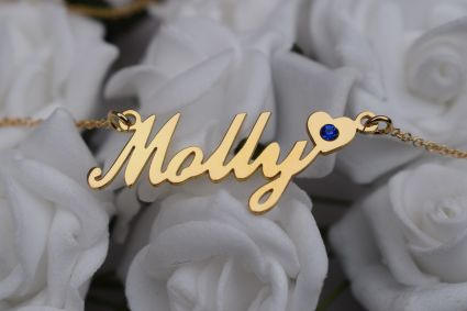 9ct Yellow Gold Carrie Style (Sex & The City) Personalised Name Necklace With Heart & Birthstone