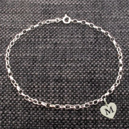 Sterling Silver Belcher Anklet With Initial Heart Charm
