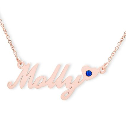 9ct Rose Gold Carrie Style (Sex & The City) Personalised Name Necklace With Heart & Birthstone