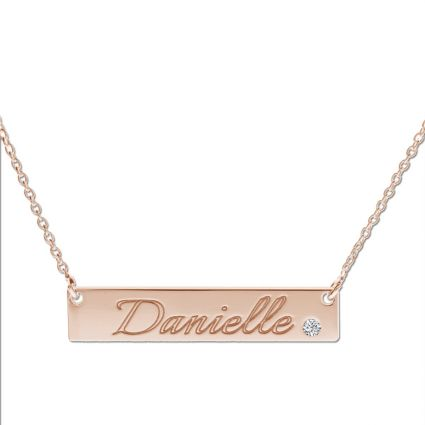 9ct Rose Gold Plated Name Bar Tag Pendant With Crystal Or Real Diamond