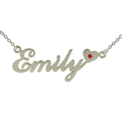 9ct White Gold Carrie Style (Sex & The City) Personalised Name Necklace With Heart & Birthstone