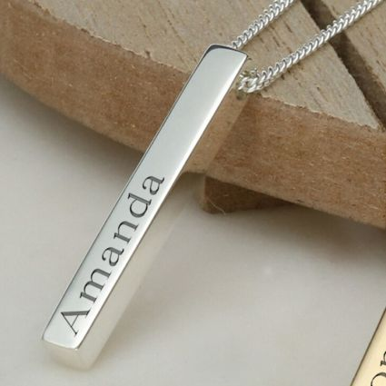 Silver 3D Engraved Name Bar Pendant With Chain