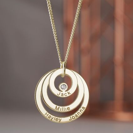 9ct Solid Yellow Gold Engraved Triple Disc Personalised Family Necklace With Diamond & Optional Chain