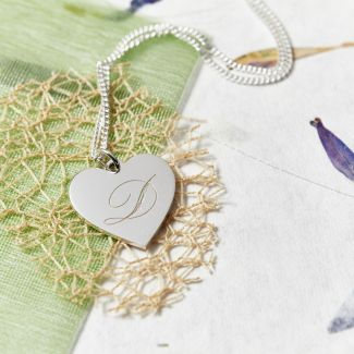 Sterling Silver Engraved Initial Heart Pendant