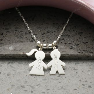 Sterling Silver Mum Necklace With Engravable Boy Or Girl Pendants