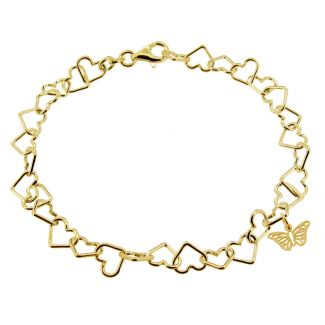 9ct Yellow Gold Plated Light Heart Charm Anklet With Butterfly Charm