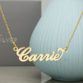 9ct Yellow Gold Carrie Style Personalised Name Necklace with Curl