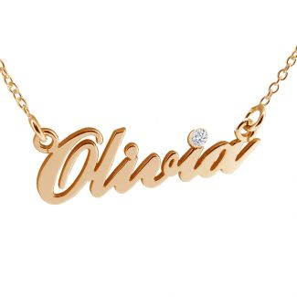 9ct Rose Gold Carrie Style Personalised Name Necklace With Swarovski Crystal (Sex & The City)