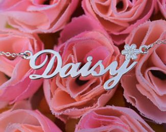 Sterling Silver Carrie Style Personalised Name Necklace with Daisy