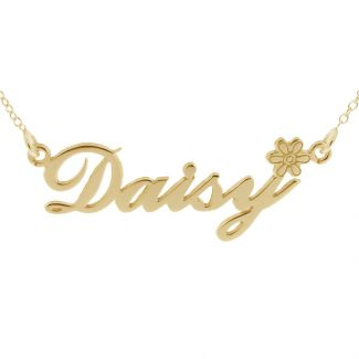 9ct Yellow Gold Plated Carrie Style Personalised Name Necklace with Daisy