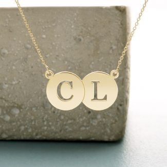 9ct Yellow Gold  Initial Double Disc Pendant