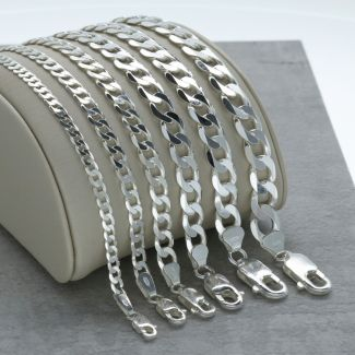 Sterling Silver Flat Diamond Cut Open Link Curb Chain