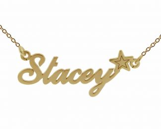 9ct Yellow Gold Plated Carrie Style Personalised Name Necklace with Star