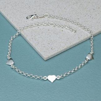 Sterling Silver Belcher Link and Hearts Anklet