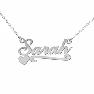 9ct White Gold Carrie Style Personalised Name Necklace With Heart & Scroll