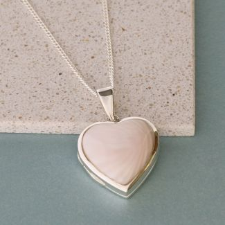 Sterling Silver Pink Mother Of Pearl Heart Locket With Optional Engraving & Chain