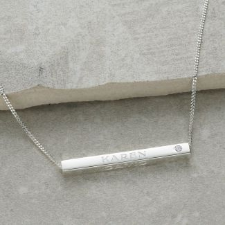 Sterling Silver 3D Horizontal Engraved Name Bar Pendant With Crystal Or Real Diamond & Chain