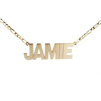 9ct Yellow Gold Plated Mens Block Style Extra Large Personalised Name Necklace