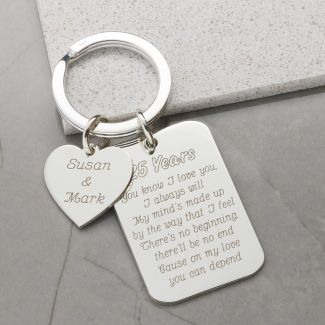 Sterling Silver Personalised Heart and Tag Anniversary Keyring with Optional Engraving