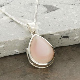 Sterling Silver Tear Drop Pink Mother Of Pearl Locket With Optional Engraving & Chain