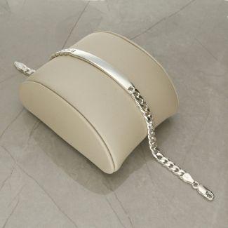 Sterling Silver 12 Gram Slimline Mens ID Bracelet With Optional Engraving
