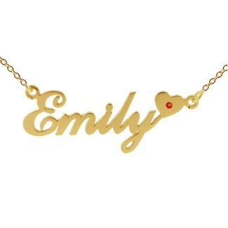 9ct Yellow Gold Plated Carrie Style (Sex & The City) Personalised Name Necklace With Heart & Birthstone