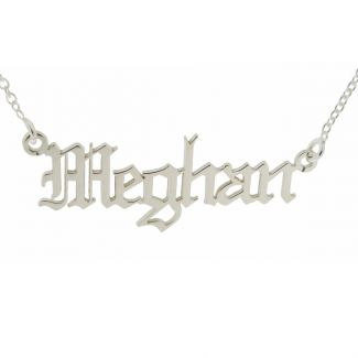 9ct White Gold Gothic Old English Personalised Name Necklace