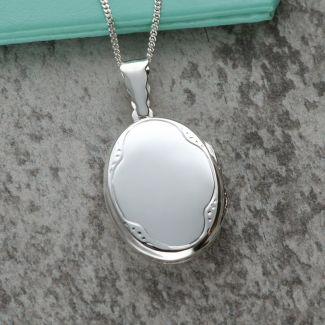 Sterling Silver Oval Patterned Locket With Optional Engraving