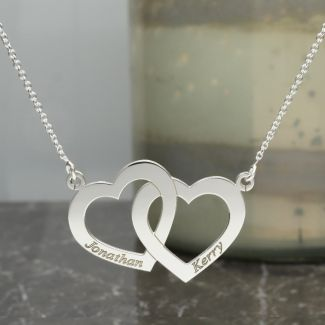 Sterling Silver Engraved Horizonital Double Heart Pendant With Chain