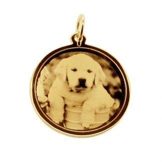 9ct Yellow Gold 24mm Round Photo Engraved Disc Pendant