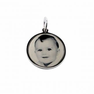 9ct White Gold 19mm Round Photo Engraved Disc Pendant