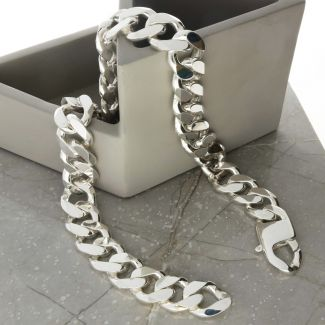 Sterling Silver Mens Heavy 19mm Flat Curb Chain