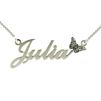 9ct White Gold Carrie Style Personalised Name Necklace with Butterfly