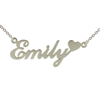 9ct White Gold Carrie Style Personalised Name Necklace with Heart
