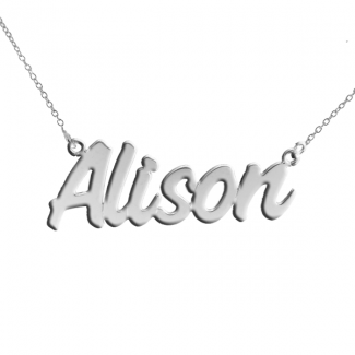 Sterling Silver Challenge Style Personalised Name Necklace