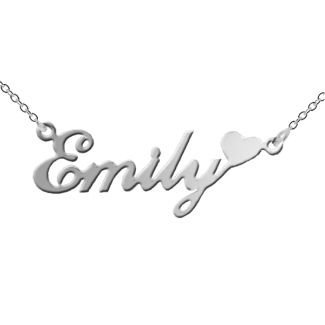 Sterling Silver Carrie Style Name Necklace with Heart