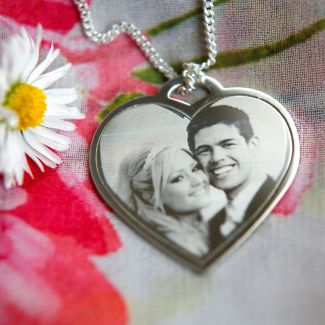Heart Pendant Photo Engraved in Sterling Silver