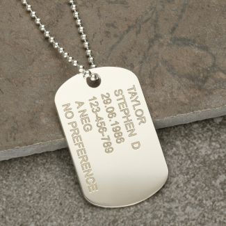 Sterling Silver Large Army Style Dog Tag With Optional Engraving