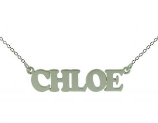 9ct White Gold Cooper Style Personalised Name Necklace