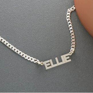 Sterling Silver Mini Block Choker Style Personalised Name Necklace