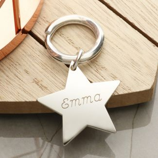 Sterling Silver Engraved Star Keyring