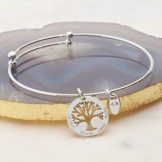 Sterling Silver Engraved Tree Of Life Charm Bangle Bracelet