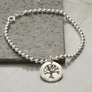 Sterling Silver Engraved Tree Of Life Charm Bracelet or Anklet & Chain Choice
