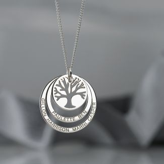 9ct White Gold Tree of Life Two Disc Family Necklace