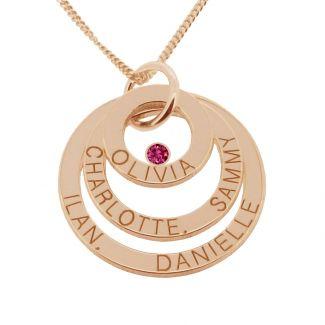 9ct Solid Rose Gold Engraved Triple Disc Personalised Family Necklace With Ruby
