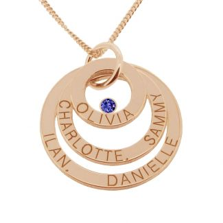 9ct Solid Rose Gold Engraved Triple Disc Personalised Family Necklace With Sapphire
