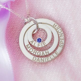 9ct White Gold Engraved Triple Disc Personalised Family Necklace With Sapphire